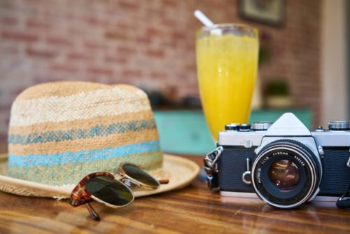 Hat, glass, drink, camera, summer