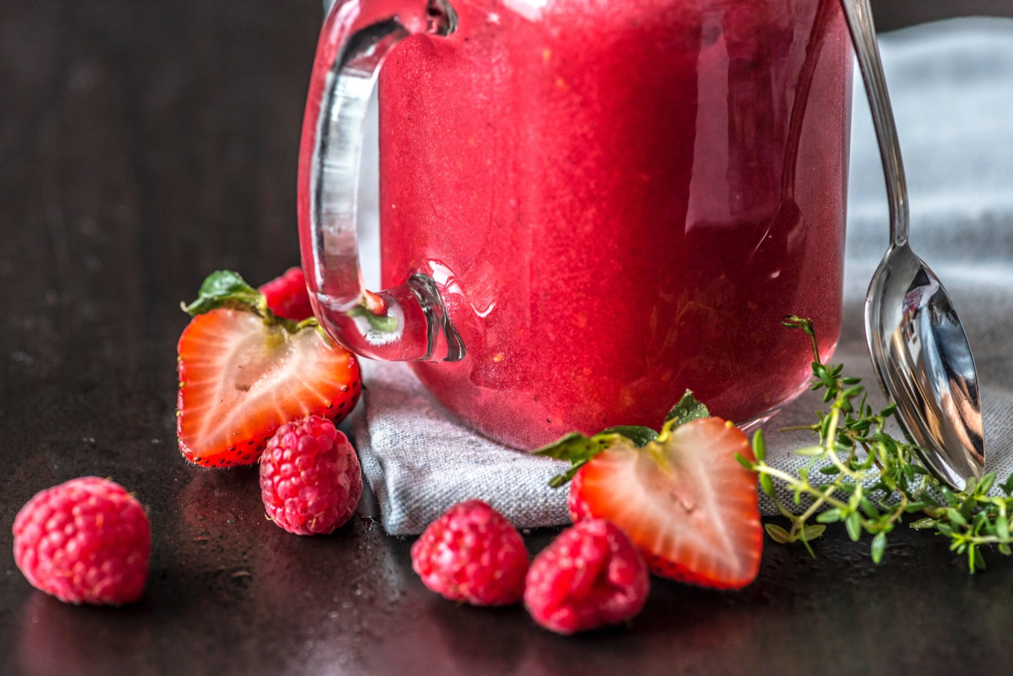 Red berry smoothie drink
